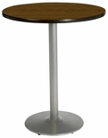 42'' Round Laminate Bistro Height Pedestal Table with Walnut Top - Silver Round Base [T42RD-B1922-SL-WL-38-IFK]