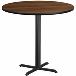 42'' Round Walnut Laminate Table Top with 33'' x 33'' Bar Height Base [BFDH-42WALRD-5BAR-TDR]
