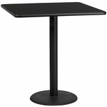 42'' Square Black Laminate Table Top with 24'' Round Bar Height Base [BFDH-4242BKSQ-7BAR-TDR]