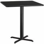42'' Square Black Laminate Table Top with 33'' x 33'' Bar Height Base [BFDH-4242BKSQ-5BAR-TDR]