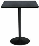 42'' Square Laminate Bistro Height Pedestal Table with Graphite Nebula Top - Black Round Base [T42SQ-B1922-BK-GRN-38-IFK]
