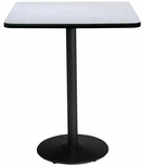 42'' Square Laminate Bistro Height Pedestal Table with Grey Nebula Top - Black Round Base [T42SQ-B1922-BK-GYN-38-IFK]
