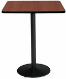 42'' Square Laminate Bistro Height Pedestal Table with Mahogany Top - Black Round Base [T42SQ-B1922-BK-MH-38-IFK]