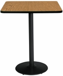 42'' Square Laminate Bistro Height Pedestal Table with Medium Oak Top - Black Round Base [T42SQ-B1922-BK-MO-38-IFK]