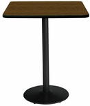 42'' Square Laminate Bistro Height Pedestal Table with Walnut Top - Black Round Base [T42SQ-B1922-BK-WL-38-IFK]