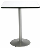 42'' Square Laminate Bistro Height Pedestal Table with Crisp Linen Top - Silver Round Base [T42SQ-B1922-SL-CL-38-IFK]