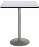 42'' Square Laminate Bistro Height Pedestal Table with Grey Nebula Top - Silver Round Base [T42SQ-B1922-SL-GYN-38-IFK]