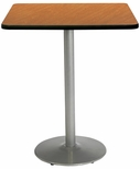 42'' Square Laminate Bistro Height Pedestal Table with Medium Oak Top - Silver Round Base [T42SQ-B1922-SL-MO-38-IFK]