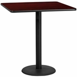 42'' Square Mahogany Laminate Table Top with 24'' Round Bar Height Base [BFDH-4242MAHSQ-7BAR-TDR]