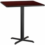 42'' Square Mahogany Laminate Table Top with 33'' x 33'' Bar Height Base [BFDH-4242MAHSQ-5BAR-TDR]