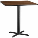 42'' Square Walnut Laminate Table Top with 33'' x 33'' Bar Height Base [BFDH-4242WALSQ-5BAR-TDR]