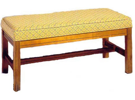 Click on a thumbnail to Enlarge - 501 Luggage Bench: Wood Rail Upholstered Seat W/ Chippendale Legs