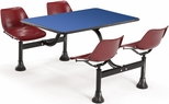 64.25'' D Cluster Table - Maroon Seat and Blue Laminate Top [1002-MRN-BLUE-MFO]