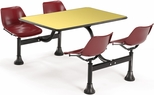 64.25'' D Cluster Table - Maroon Seat and Yellow Laminate Top [1002-MRN-YLW-MFO]