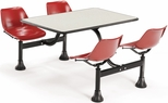 64.25'' D Cluster Table - Red Seat and Beige Nebula Laminate Top [1002-RED-BGNB-MFO]
