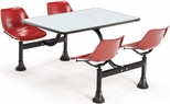 64.25'' D Cluster Table - Red Seat and Gray Nebula Laminate Top [1002-RED-GRYNB-MFO]