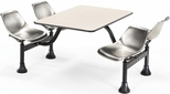 64.25'' D Cluster Table - Stainless Steel Seat and Beige Nebula Laminate Top [1002-SS-BGNB-MFO]