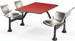 64.25'' D Cluster Table - Stainless Steel Seat and Red Laminate Top [1002-SS-RED-MFO]