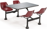 64.25'' D Outdoor Table with Stainless Steel Top and Four Chairs - Maroon [1004-MRN-MFO]