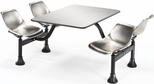 64.25'' D Outdoor Table with Stainless Steel Top and Four Chairs - Stainless Steel [1004-SS-MFO]