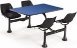 71'' D Cluster Table - Black Seat and Blue Laminate Top [1003-BLK-BLUE-MFO]
