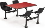 71'' D Cluster Table - Black Seat and Red Laminate Top [1003-BLK-RED-MFO]