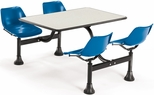 71'' D Cluster Table - Blue Seat and Beige Nebula Laminate Top [1003-BLUE-BGNB-MFO]