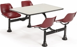 71'' D Cluster Table - Maroon Seat and Beige Nebula Laminate Top [1003-MRN-BGNB-MFO]