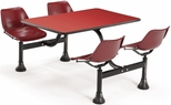71'' D Cluster Table - Maroon Seat and Red Laminate Top [1003-MRN-RED-MFO]