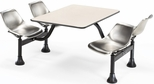 71'' D Cluster Table - Stainless Steel Seat and Beige Nebula Laminate Top [1003-SS-BGNB-MFO]