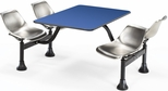 71'' D Cluster Table - Stainless Steel Seat and Blue Laminate Top [1003-SS-BLUE-MFO]
