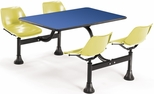 71'' D Cluster Table - Yellow Seat and Blue Laminate Top [1003-YLW-BLUE-MFO]