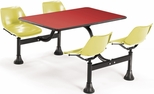 71'' D Cluster Table - Yellow Seat and Red Laminate Top [1003-YLW-RED-MFO]