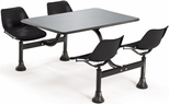 71'' D Outdoor Table with Stainless Steel Top and Four Chairs - Black [1005-BLK-MFO]
