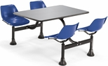 71'' D Outdoor Table with Stainless Steel Top and Four Chairs - Navy [1005-NAVY-MFO]