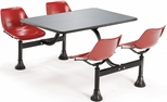 71'' D Outdoor Table with Stainless Steel Top and Four Chairs - Red [1005-RED-MFO]