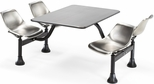 71'' D Outdoor Table with Stainless Steel Top and Four Chairs - Stainless Steel [1005-SS-MFO]