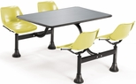 71'' D Outdoor Table with Stainless Steel Top and Four Chairs - Yellow [1005-YLW-MFO]