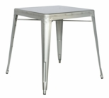 8029 Galvanized Steel Dining Table - Shiny Silver [8029-DT-SLV-FS-CTY]