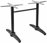 Aluminum 29''H Outdoor Double Pole Table Base with Cast Weighted Bottom - Black [AL-1805DP-BLACK-FLS]