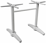 Aluminum 29''H Outdoor Double Pole Table Base with Cast Weighted Bottom - Silver [AL-1805DP-SILVER-FLS]