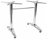 Aluminum 29''H Outdoor Double Pole Table Base with Weighted Bottom and Stainless Steel Cover - Chrome [AL-1802DP-CHROME-FLS]