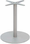Aluminum 29''H Outdoor Round Table Base with 3'' Pole and 23'' Diameter Weighted Bottom - Silver [AAL-2400-23X3-SILVER-FLS]
