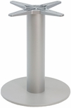 Aluminum 29''H Outdoor Round Table Base with 6'' Pole and 23'' Diameter Weighted Bottom - Silver [AAL-2400-23X6-SILVER-FLS]