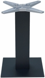Aluminum 29''H Outdoor Table Base with 6'' Pole and 18'' x 18'' Square Weighted Bottom - Black [AL-2500-18X18X6-BLACK-FLS]