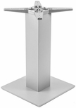 Aluminum 42''H Outdoor Bar Table Base with 6'' Pole and 18'' x 18'' Square Weighted Bottom - Silver [AAL-2500-18X18X6-BH-SILVER-FLS]