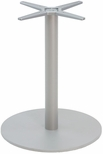 Aluminum 42''H Outdoor Round Bar Table Base with 3'' Pole and 23'' Diameter Weighted Bottom - Silver [AL-2400-23X3-BH-SILVER-FLS]