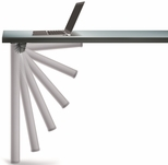 Aluminum Push-Button Single Foldable Table Leg with Mounting Hardware - 27.75''H [656-7S-AO-PMI]