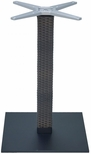 Aluminum Wicker 29''H Outdoor Table Base with 3'' Pole and 18''X18'' Square Weighted Bottom - Black [AL-2500-18X18X3-WIC-BLACK-FLS]