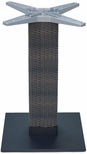 Aluminum Wicker 29''H Outdoor Table Base with 6'' Pole and 18''X18'' Square Weighted Bottom - Black [AL-2500-18X18X6-WIC-BLAKC-FLS]